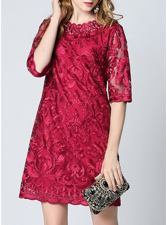 Polyester With Lace/Embroidery Above Knee Dress
