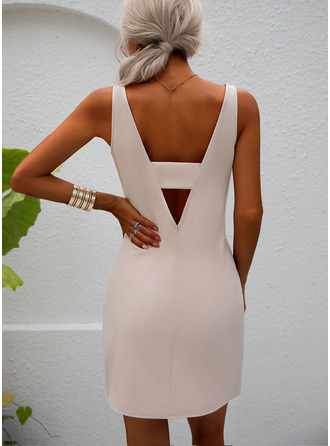 Solid Backless Sheath Round Neck Sleeveless Midi Party Sexy Dresses