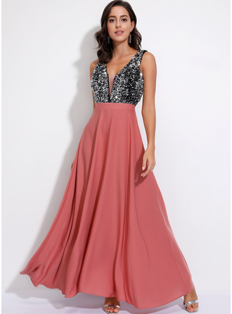 Polyester With Sequins/Color-block Maxi Dress