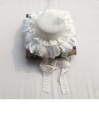 Ladies' Beautiful Cotton With Feather Floppy Hat