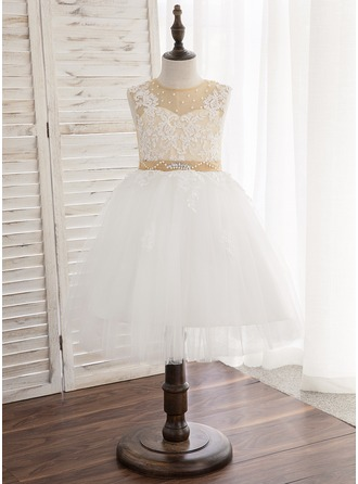 Knee-length Flower Girl Dress - Satin Tulle Lace Sleeveless Scoop Neck With Beading