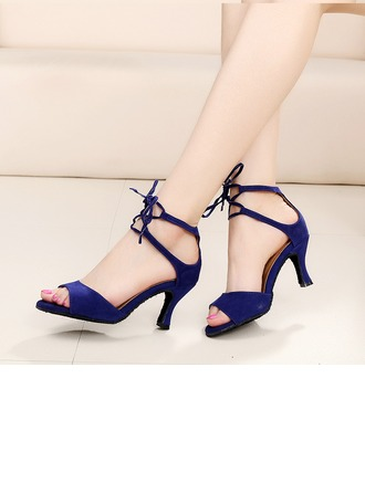 Women's Suede Heels Latin Ballroom Tango With Ankle Strap Lace-up Dance Shoes
