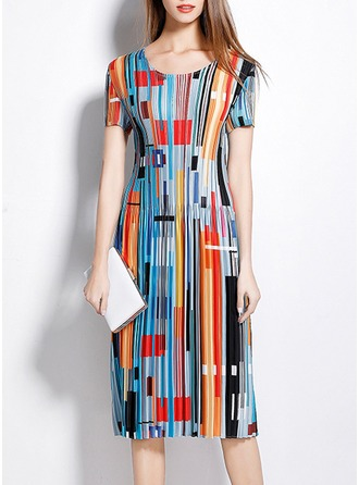 Polyester/Silk With Print Knee Length Dress