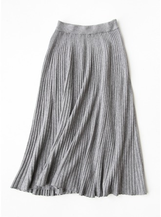 A-Line Skirts Maxi Plain Wool Skirts
