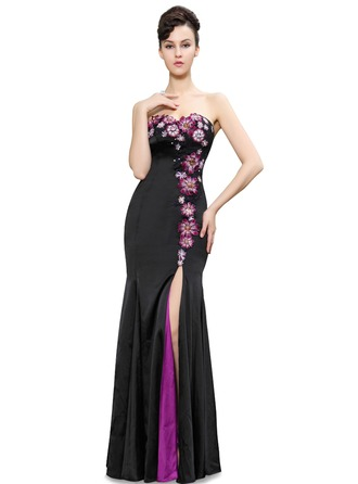 Satin/Silk Blend With Appliques Maxi Dress