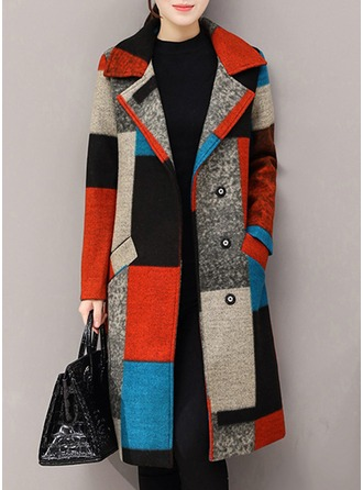 Wool Long Sleeves Color Block Wool Coats