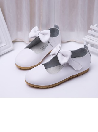 Girl's Microfiber Leather Flat Heel Round Toe Flats With Bowknot Velcro