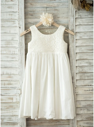 Knee-length Flower Girl Dress - Lace Cotton Sleeveless Scoop Neck