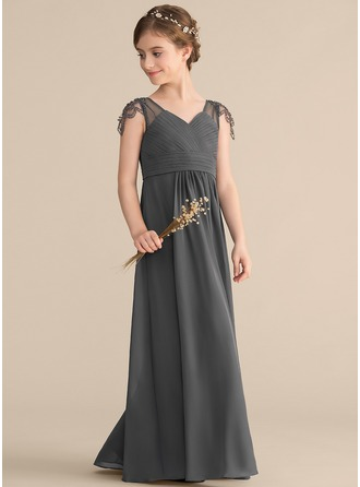 V-neck Floor-Length Chiffon Junior Bridesmaid Dress With Ruffle Beading