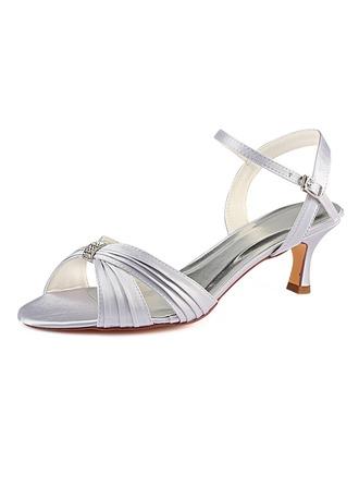 Kvinder silke lignende satin Stiletto Hæl sandaler med Flæsekanter Crystal