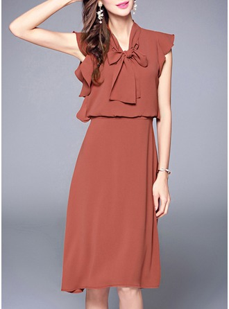 Chiffon With Bowknot/Stitching/Ruffles Knee Length Dress