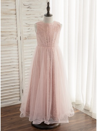 Ankle-length Flower Girl Dress - Tulle Sequined Sleeveless Scoop Neck With Pleated