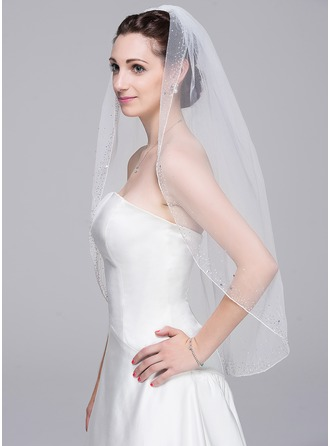 One-tier Beaded Edge Elbow Bridal Veils With Beading/Sequin