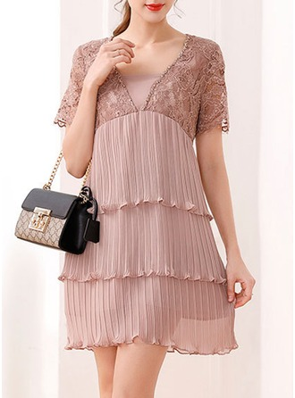 Chiffon With Stitching/Resin solid color Above Knee Dress