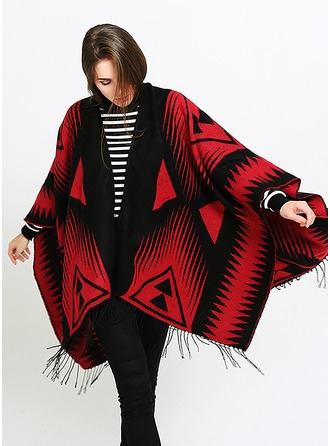 Geometric Print Oversized/Cold weather Artificial Wool Poncho