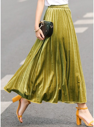 Pleated Skirts Maxi Plain Velvet Etekler