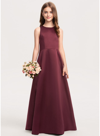 Scoop Neck Floor-Length Satin Junior Bridesmaid Dress