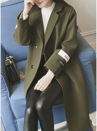 Wool Long Sleeves Plain Wool Coats Kabanlar