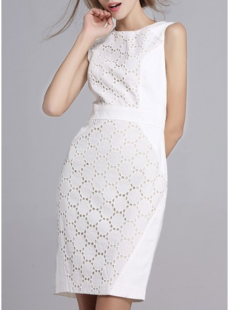 Cotton/Spandex With Stitching Knee Length Dress