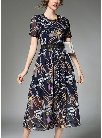 Chiffon With Print/Hollow/Crumple Midi Dress