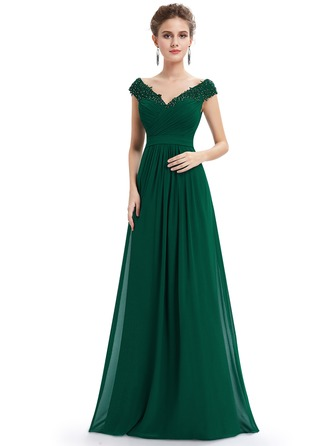 Polyester/Satin/Silk Blend med Beaded/Frynse Maxi Kle