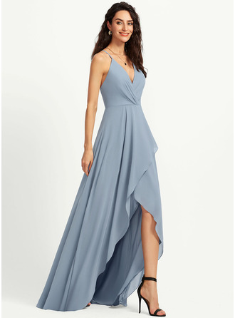 A-Line V-neck Asymmetrical Bridesmaid Dress