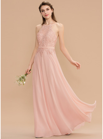 Halter Floor-Length Chiffon Lace Bridesmaid Dress With Bow(s)