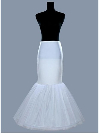 Women Tulle Netting/Satin Floor-length 1 Tiers Bustle