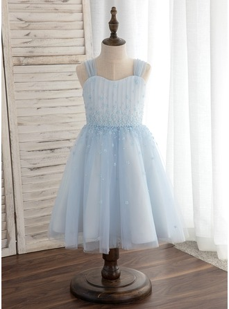 Po kolena Flower Girl Dress - Tyl Bez rukávů popruhy