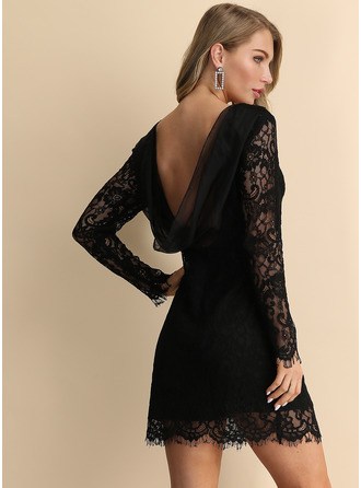 Polyester/Lace With Hollow Above Knee Dress
