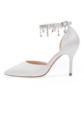 Women's Leatherette Stiletto Heel Pumps With Rhinestone
