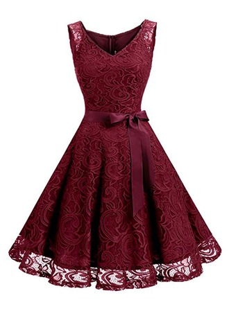 Lace With Resin solid color Knee Length Dress
