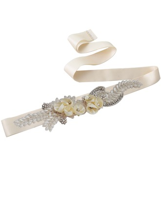 Elegant Satin Sash With Flower/Rhinestones/Imitation Pearls