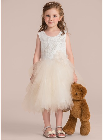 Knee-length Flower Girl Dress - Tulle Lace Sleeveless Scoop Neck With Beading Flower(s) Sequins
