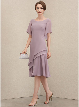 Scoop Neck Knee-Length Chiffon Cocktail Dress With Cascading Ruffles