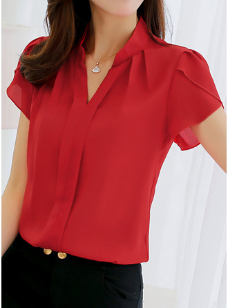 Plain Short Sleeves Polyester V Neck Casual Blouses Bluzlar