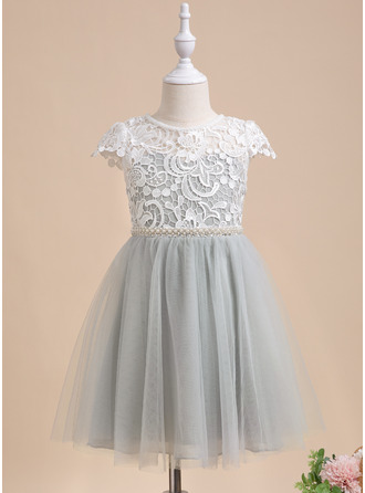 Knee-length Flower Girl Dress - Short Sleeves Scalloped Neck With Lace Beading Sequins