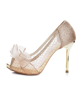 Women's Sparkling Glitter Mesh Stiletto Heel Peep Toe Platform Beach Wedding Shoes With Bowknot