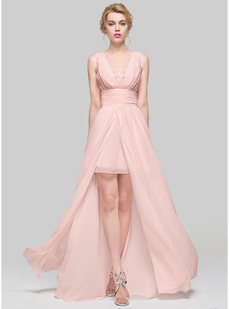 Scoop Neck Asymmetrical Chiffon Bridesmaid Dress With Ruffle Lace Beading