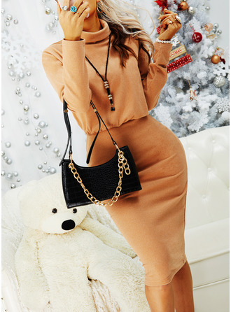 Solid Bodycon Round Neck Long Sleeves Midi Casual Little Black Pencil Dresses