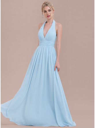 Halter Floor-Length Chiffon Bridesmaid Dress With Ruffle