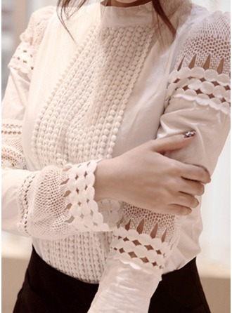 Plain Long Sleeves Cotton Stand-up Collar Shirt Blouses Bluzlar