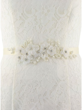 Beautiful Satin Sash With Flower/Imitation Pearls