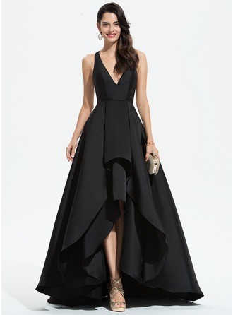 V-neck Asymmetrical Satin Evening Dress With Cascading Ruffles