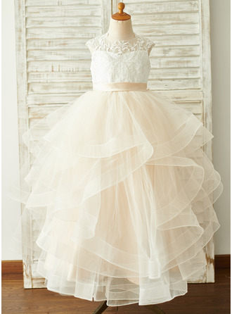 Ball-Gown/Princess Floor-length Flower Girl Dress - Tulle/Lace Sleeveless Scoop Neck With Ruffles (Undetachable sash)