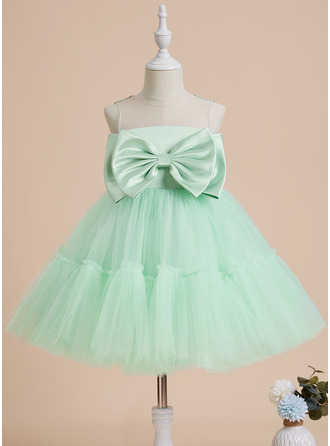 Ball-Gown/Princess Knee-length Flower Girl Dress - Satin Tulle Sleeveless Scoop Neck With Bow(s)