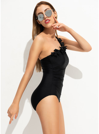 Sexy Solid Color Chinlon Polyester One-piece