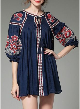 Chiffon With Bowknot/Embroidery/Hollow/Crumple Above Knee Dress