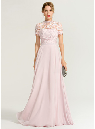 High Neck Floor-Length Chiffon Evening Dress