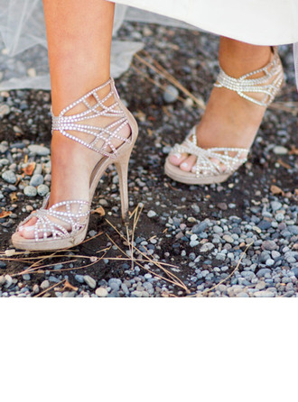Women's Leatherette Stiletto Heel Peep Toe Platform Sandals With Imitation Pearl Rhinestone Sparkling Glitter Pearl